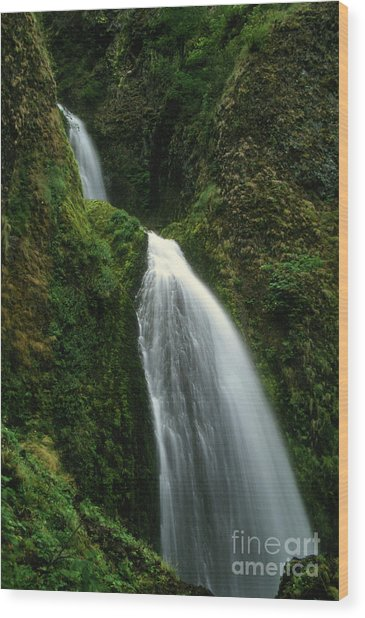Upper Wahkeena Falls Wood Print