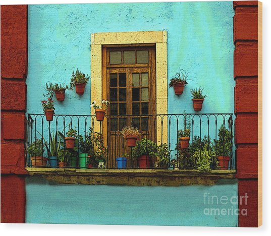 Upper Window In Turqoise Wood Print by Mexicolors Art Photography