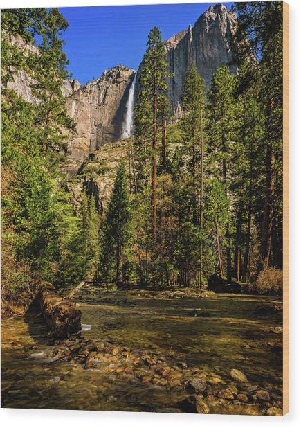 Upper Yosemite Falls From Yosemite Creek Wood Print