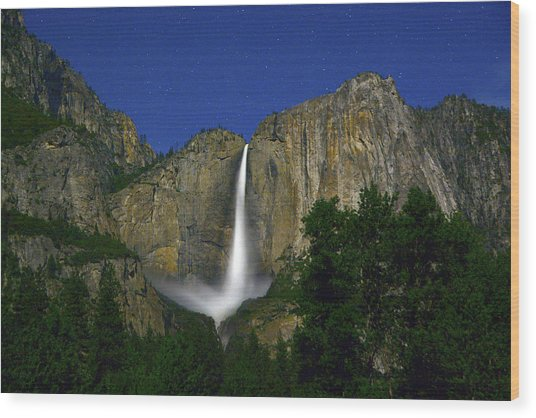 Upper Yosemite Falls Under The Stairs Wood Print