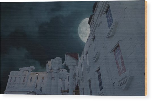 Upside Down White House At Night Wood Print