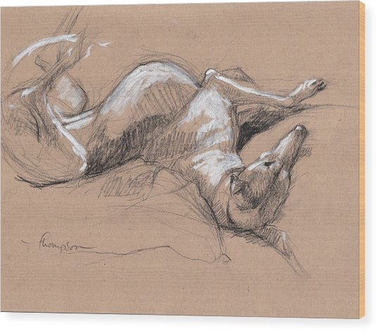 Upside Hound 2 Wood Print