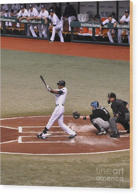 Upton At The Plate Wood Print
