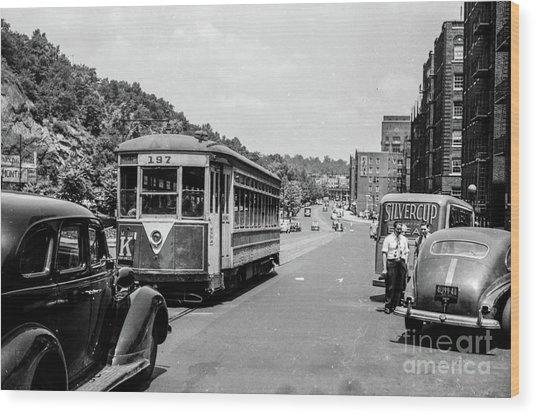 Uptown Trolley Near 193rd Street Wood Print