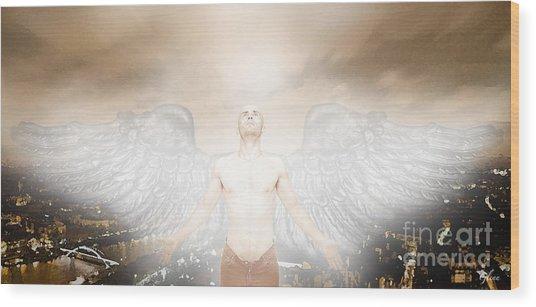 Urban Angel Wood Print by Carrie Jackson