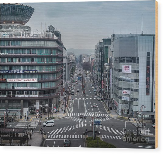 Urban Avenue, Kyoto Japan Wood Print