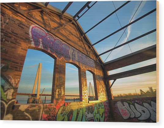 Urban Graffiti Landscape - Stan Musial Veterans Memorial Bridge - St. Louis Missouri Wood Print