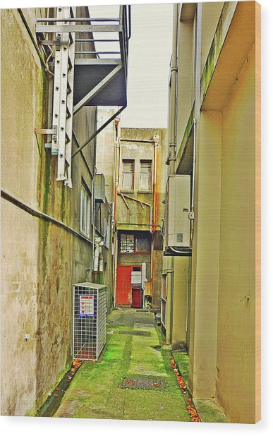 Urban Landscape-blind Alley Wood Print by Kenneth William Caleno