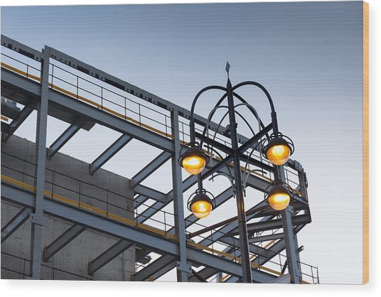 Urban Structures Wood Print by Paul Indigo