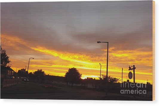 Urban Sunset Wood Print