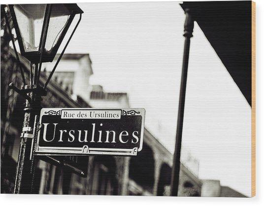Ursulines In Monotone, New Orleans, Louisiana Wood Print