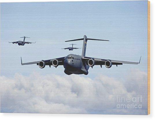 U.s. Air Force C-17 Globemasters Wood Print