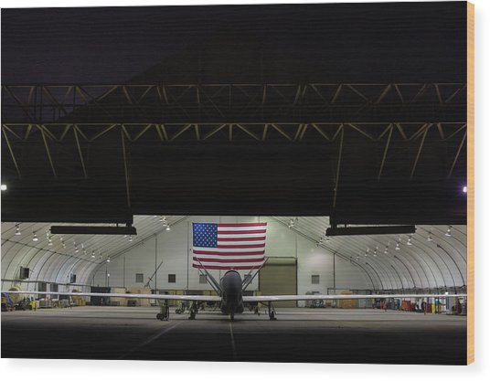 Us Air Force Eq 4 Global Hawk Assigned To The 380th Air Expeditionary Wing Await Routine Maintenance Wood Print