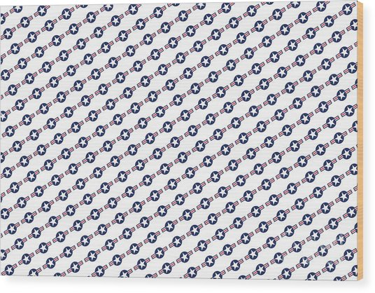 Us Airforce Style Insignia Pattern Diag Version Wood Print