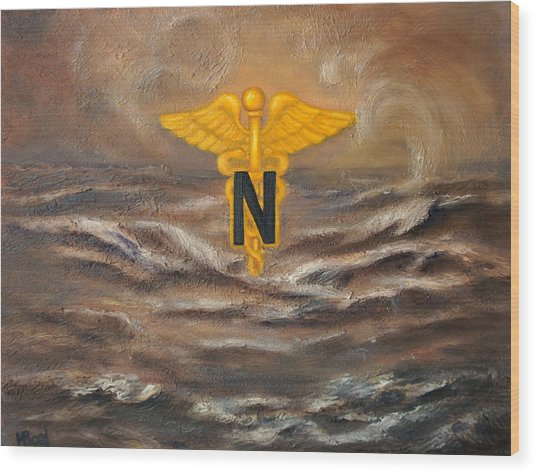 U.s. Army Nurse Corps Desert Storm Wood Print