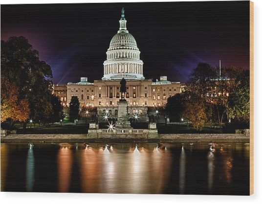 Us Capitol Building And Reflecting Pool At Fall Night 3 Wood Print
