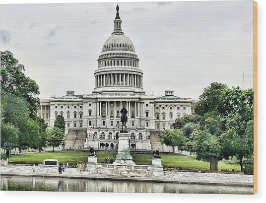 U.s. Capitol Building Wood Print