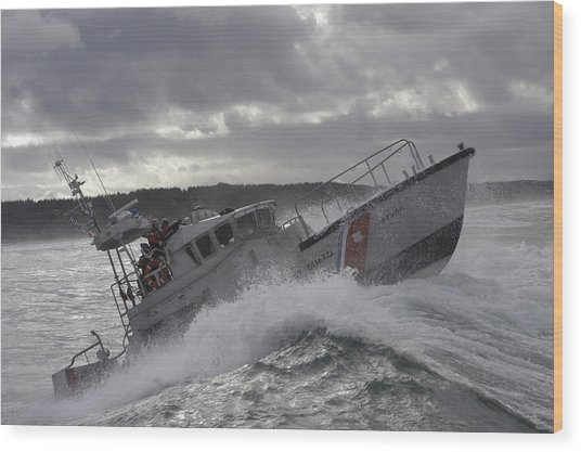 Wood Print featuring the photograph U.s. Coast Guard Motor Life Boat Brakes by Stocktrek Images