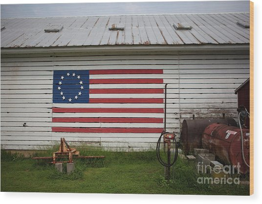 Us Flag Barn Wood Print