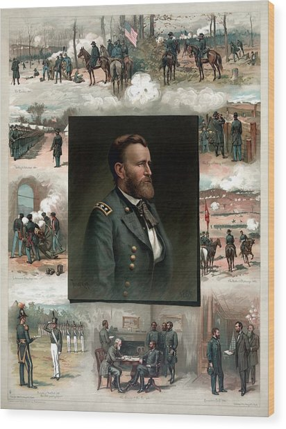 Us Grant's Career In Pictures Wood Print