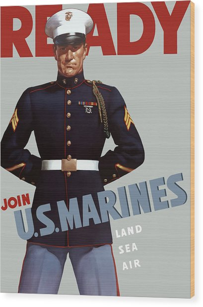 Us Marines - Ready Wood Print