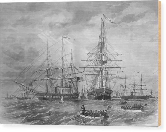 U.s. Naval Fleet During The Civil War Wood Print