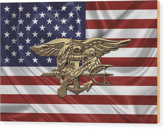 U.s. Navy Seals Trident Over U.s. Flag Wood Print