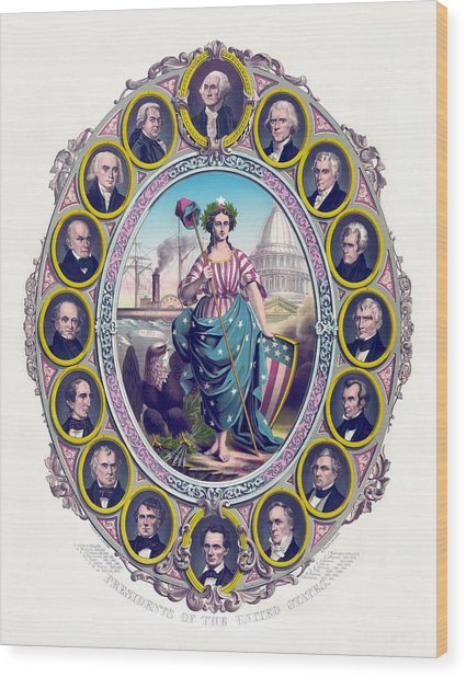 Us Presidents And Lady Liberty  Wood Print