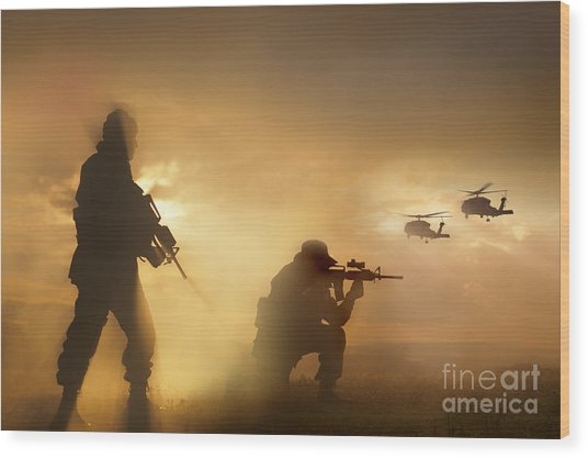 Wood Print featuring the photograph U.s. Special Forces Provide Security by Tom Weber