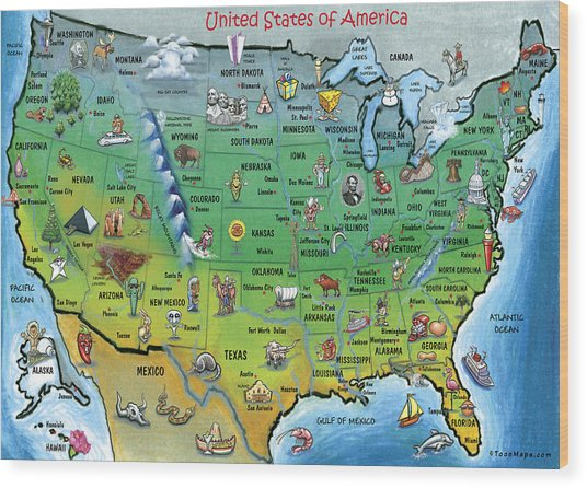 Usa Cartoon Map Wood Print