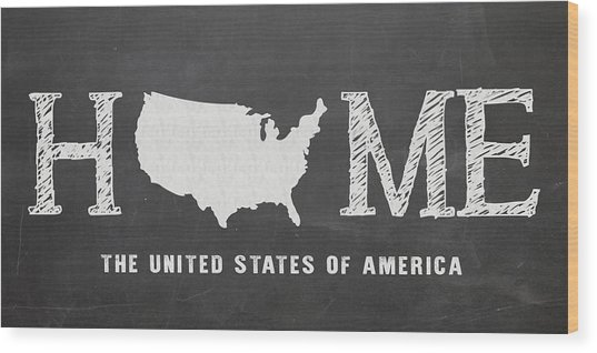 Usa Home Wood Print
