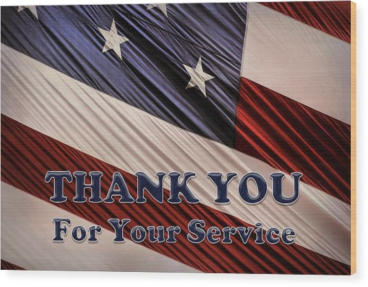 Usa Military Veterans Patriotic Flag Thank You Wood Print