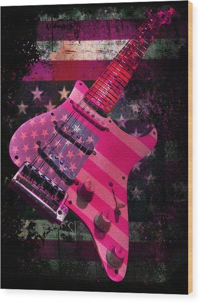 Wood Print featuring the digital art Usa Pink Strat Guitar Music by Guitar Wacky