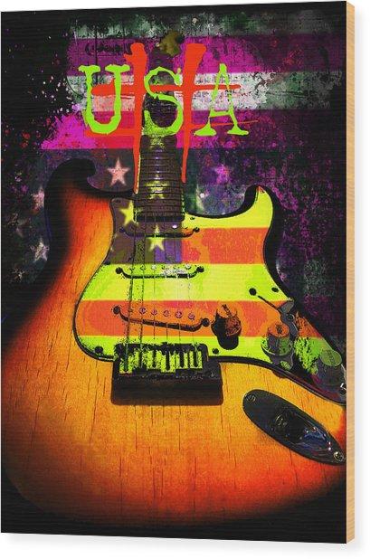 Wood Print featuring the digital art Usa Strat Guitar Music by Guitar Wacky