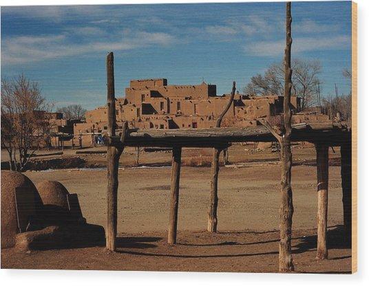 Usa - Taos Pueblo New Mexico Wood Print by Jacqueline M Lewis