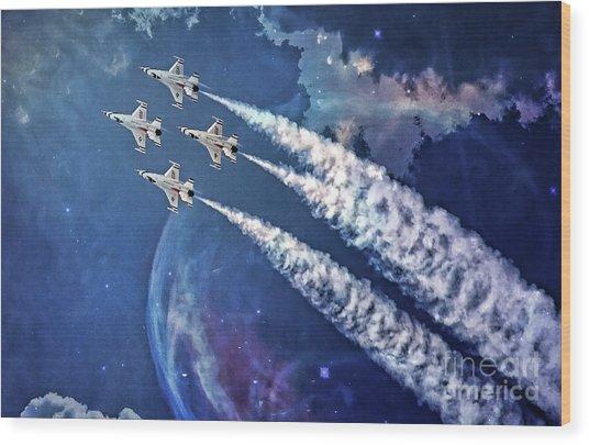 Usaf Thunderbirds Diamond Formation Wood Print