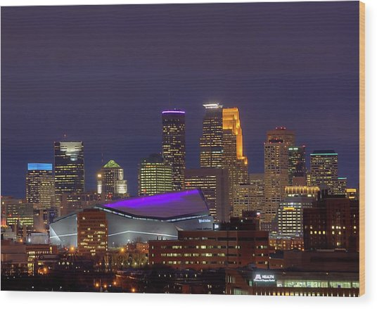 Usbank Stadium Dressed In Purple Wood Print