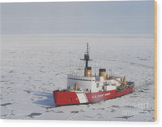Uscgc Polar Sea Conducts A Research Wood Print