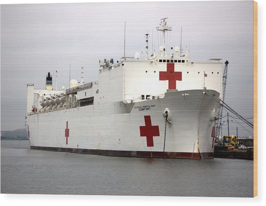 Usns Comfort  Baltimore Maryland Wood Print by Wayne Higgs