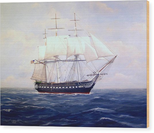 Uss Constitution Wood Print by William H RaVell III