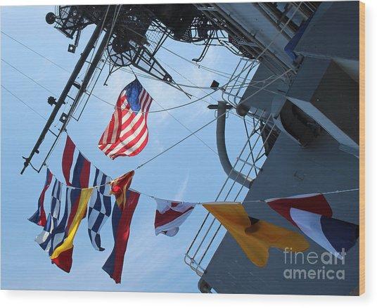 Uss Midway Flag Wood Print