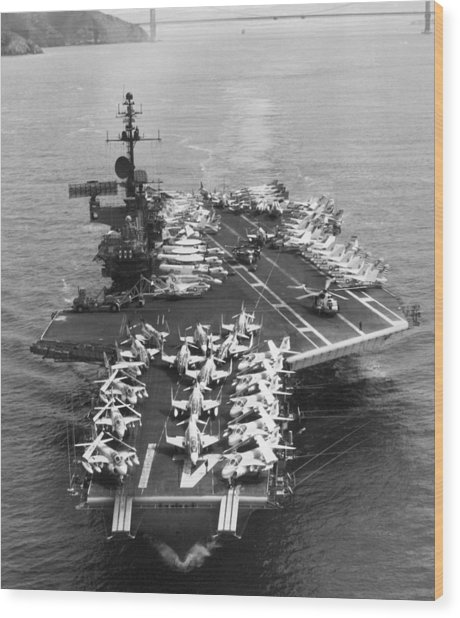 Uss Midway Leaves Sf Wood Print