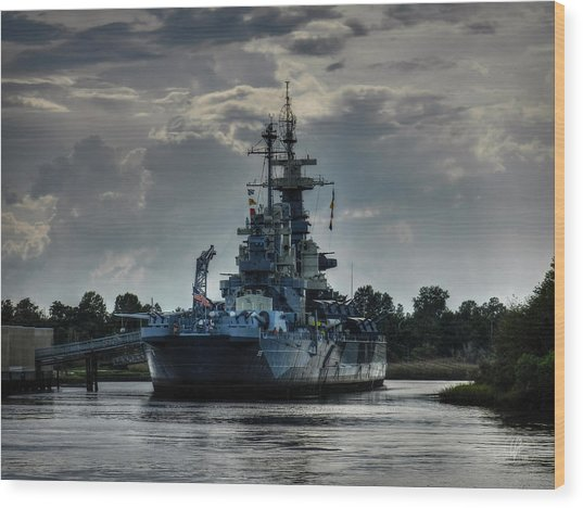 Wood Print featuring the photograph U.s.s. North Carolina 001 by Lance Vaughn