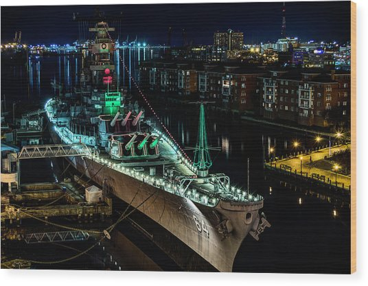 Uss Wisconsin Wood Print