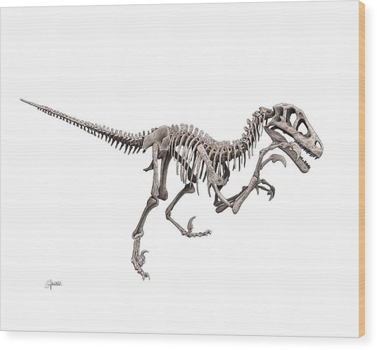 Utahraptor Wood Print
