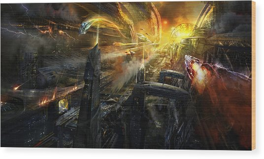 Utherworlds Battlestar Wood Print by Philip Straub