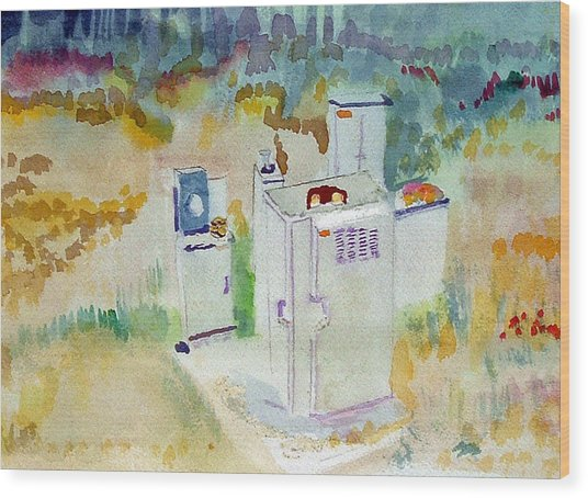 Utility Boxes Near A Forest Wood Print