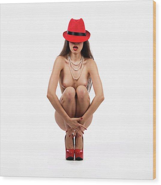 Uunder The Red Hat Series W1 Wood Print