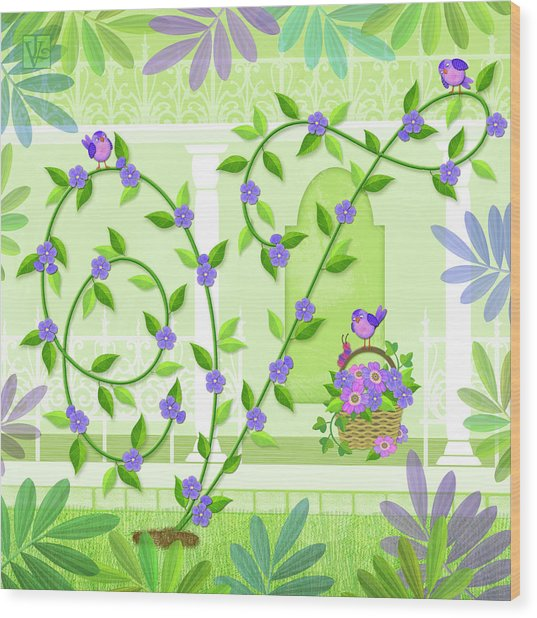 V Is For Vine And Veranda Wood Print