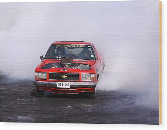 V8 Ute Doing A Burnout Wood Print by Stephen Athea